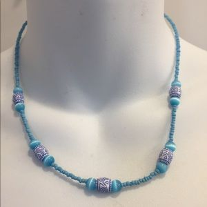 Jewelry - Blue, purple & white beaded necklace
